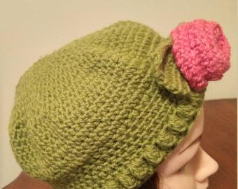 Ladies Crocheted Rose Hat