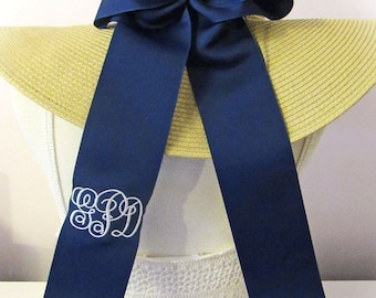 Monogrammed  Personalized Bow Cheerleader Style plus long ribbon sash style tails.  Custom Colors.