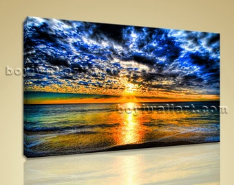 Large Contemporary Canvas Wall Art Sunset Landscape Painting HD Print Framed, Large Sunset Wall Art, Bedroom, Ochre