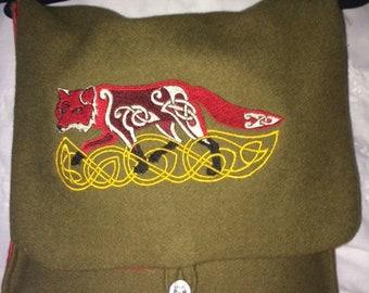 Knotwork Fox Haversack- wool and silk