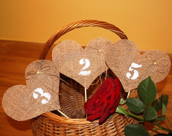 Wedding Burlap Table Numbers 1-10, table number pennants, wedding, party