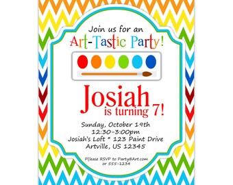 Art Party Invitation - Rainbow Chevron, Primary Color, Artist Paint Brush Set Personalized Birthday Party Invite - Digital Printable File