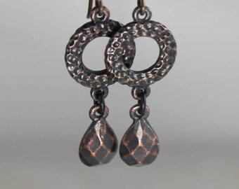 Black rusted iron finish drop earrings featuring B'Sue by 1928 dangle drop earring women's jewelry gift for her hoop pear shape teardrop