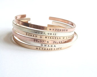 Mother's Day Jewelry, Rose Gold Personalized Bracelet,  Personalized Gift, Thin Gold Cuff, Custom Hand stamped,Grandma Gift,Stacking Bangle