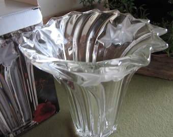 Vintage Mikasa Parisian Ivy Flower Vase Crystal Florist Ware Original Box