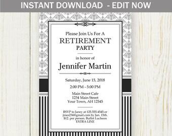 Retirement Invitation, Instant download EDIT NOW Invitation, Dasmask black gray teacher retirement no 528