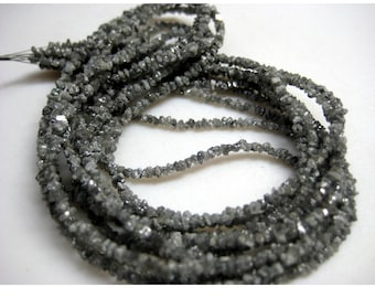 Rough Diamonds - Sparkling Grey Rough Diamond Beads - Raw Uncut Diamond Beads - 2mm To 3mm - 8 Inches Half Strand