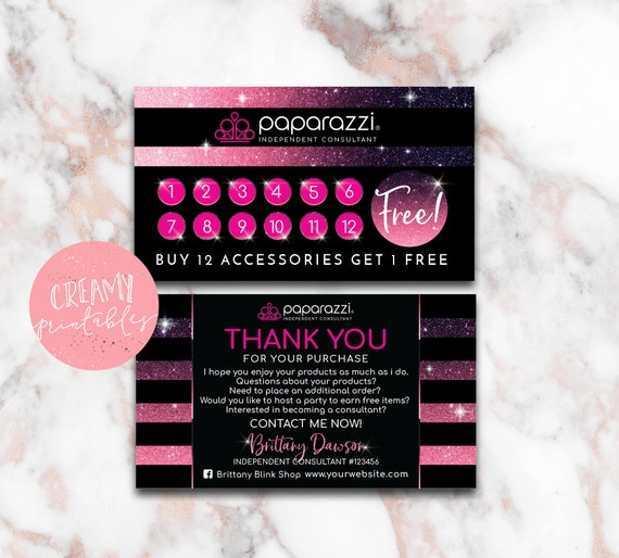 Printable paparazzi business card size paparazzi punch card reheart Choice Image