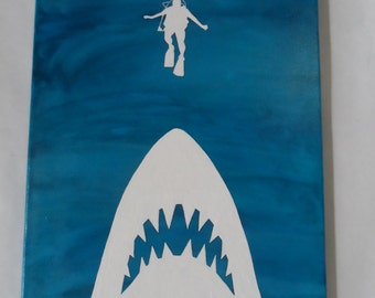 Jaws Shark Scuba Diver Ocean Painted Canvas Wall Hanging / Wall Art 11 X 14