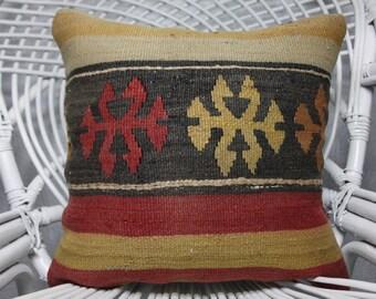 Kilim Pillow Cushion Cover 16x16 Anatolian Kilim Pillow Vintage Kilim Pillow Decorative Pillow Cushion Cover 1310