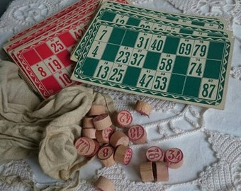 Vintage Bingo or Lotto Game Set, Old Bingo Game Cards and Wooden Numbers, Cards and Counters