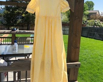 1970's Yellow Gingham Maxi Dress Kids (10)