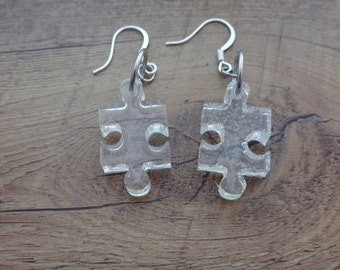 Clear Puzzle Piece Charm Earrings - Dangle Drop Earrings - Puzzles