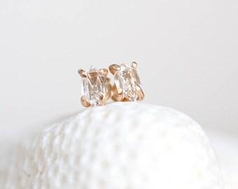 Herkimer Earrings, Herkimer Diamond 14K Gold Filled Stud Earrings, Quartz Post Earrings, Herkimer Silver Earrings