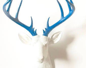 WHITE ELECTRIC BLuE XL Deer Head Faux Taxidermy Wall Mount Stag Head Wall Hanging in White with Electric Blue Antlers Office Decor Kids Room