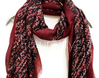 Knitting Patterns Maroon Red Trim Scarf /Spring Summer Scarf /Autumn Scarf /Gifts For Her /Gifts For Mother /Handmade Accessories /Christmas