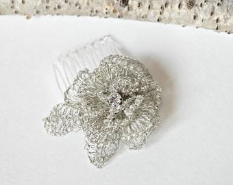 Silver Crochet Rose Hair Comb, Bridal Hair Accessory