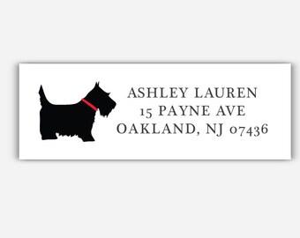 36 Couple Return Address Labels Housewarming Moving Scottish Terrier Dog