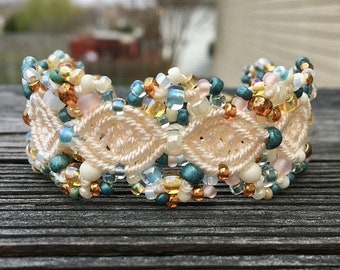 SALE Micro-Macrame Beaded Cuff Bracelet - Tan, Cream, Teal