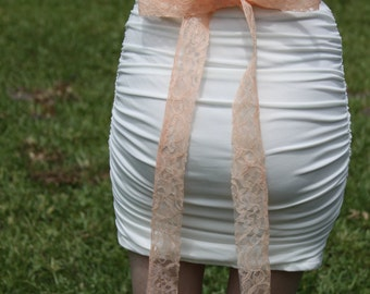 Peach Lace Sash, Bridal Lace Sash, Wedding Accessory, Lace Bridal Belt, Peach Lace Sash, YOUR COLOR CHOICE