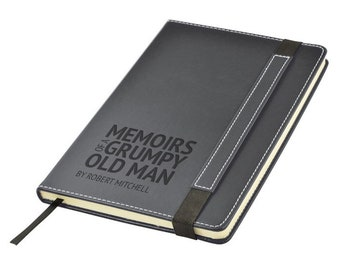 Engraved leather PU notebook journal personalised gift idea, Memoirs of a GRUMPY old MAN grandad pensioner note book - 1875-LN11