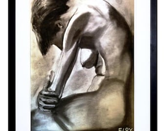 Distraught, figurative, life drawing