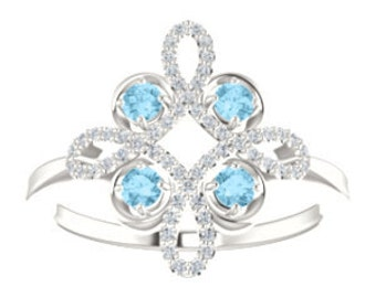 Aquamarine Diamond Unique Engagement Ring, Floral, Conflict Free, 14K, 18K, Platinum