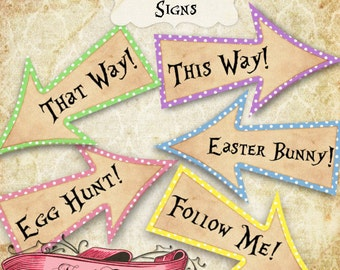 Easter Egg Hunt Arrow Signs, Happy Easter Party Signs, Easter Bunny Printable Signs, Easter Decoration, INSTANT DOWNLOAD