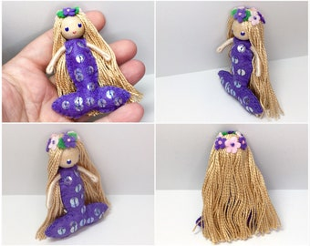 Mermaid Bendy Doll by Princess Nimble-Thimble, felt doll, bendable doll, waldorf bendy doll, small Mermaid doll, Under the Sea party favor