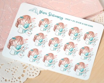 Kawaii Girl Happy Mail Stickers Version 1 ~Vera~ For your Life Planner, Diary, Journal, Scrapbook...