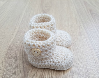 Newborn Baby Booties-Crochet Boots-Socks-Wool mix-Girls-Boys-Baby Shower-Gift for Baby