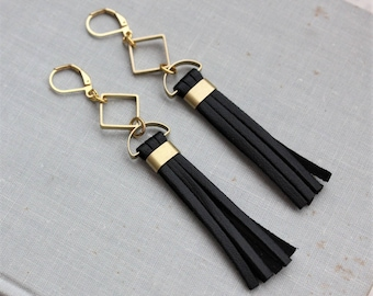 Leather Tassel Earrings. 9 Leather Colors to choose from