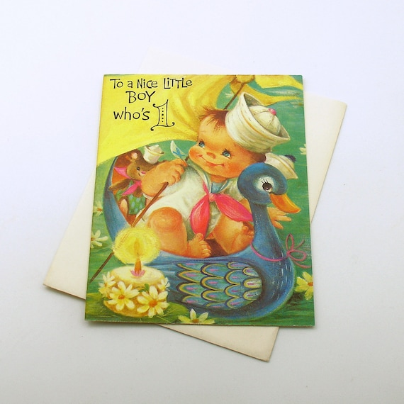 Vintage Happy Birthday Card Boy One Year Old 1st Birthday