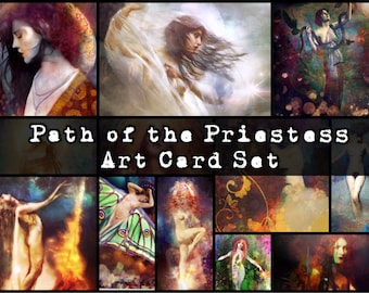 Path of the Priestess - Limited Edition Art Card Set and Velveteen Goddess Charm Storage Bag