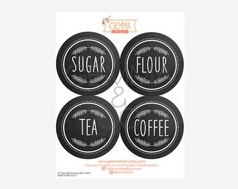 Custom Pantry Labels, 4 Inch Sticker Kitchen Labels