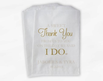 Wedding Candy Buffet Treat Bags - A Sweet Thank You Gold and Cream Personalized Favor Bags with Bride and Groom's Names and Date (0085)