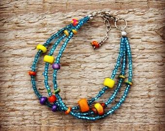seed bead bracelet polimer clay handmade see blue bracelet boho bracelet African bracelet Tibetian bracelet bohemian jewerly gypsy bracelet