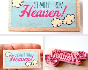 Straight from Heaven - Rubber Stamp, Greeting Cards, Etsy Shop, Logo, Branding, Packaging, Invitations, Party, Favors, Wedding Gifts