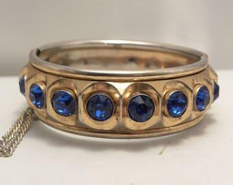 Vintage Signed Coro Blue Stone Bracelet in Gold Tone