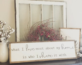 What I Love Most About My Home Fixer Upper Style Framed Sign