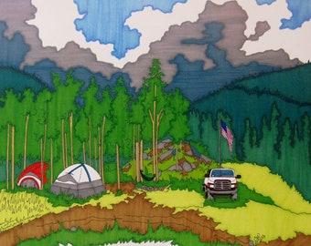 "camping : GICLEE PRINT  11""X14"""