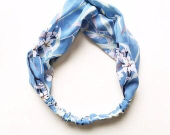 Phyllis Fabric Headband - Turban headband - Branches - Boho headband - Womans headband - Adult headband - Blue headband - Floral headband