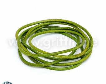 Leather strap, 2 mm, Apple green, 100 cm, round leather, leather cord, jewelry band, green, thread, jewelry