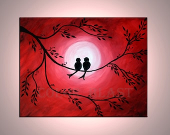 Love is in the air- Love Birds in moon light. Red Moon night sky. Abstract Painting Print. Bird Art. Romantic, Enchanted. Free shipping.