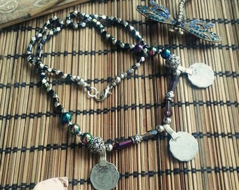 """Kuchi Coin Necklace with shimmering beads """"Frau Petra von Petrol"""""""