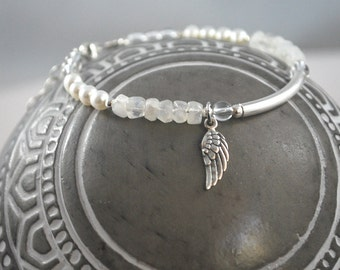 Angel wing bracelet silver sterling 925 moonstone, freshwater pearl and crystal quartz healing gemstones meaningful jewelry Angel wings