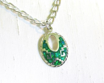 Mexican Silver Green Tribal Pendant Necklace with Green Enamel Inlaid with Abalone Chips on Heavy SP Chain - 18 inches