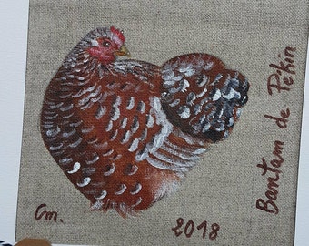 "Painting acrylic chicken Bantam ""mille-fleurs"" on natural linen"