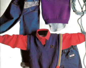 Vintage Childrens Knitted Vest Patterns - Basic Patterns/Styles - GREAT VALUE - V  Neckline Style, 6 Sizes in 5 and 8ply.