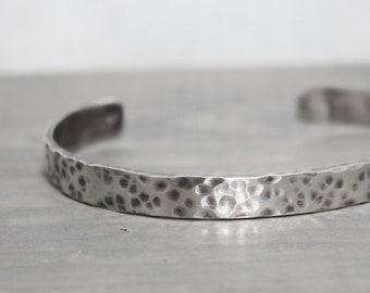Mens Silver Cuff, 1/4 Hammered Oxidized Silver Cuff, Silver Cuff, Hand Stamped Jewelry, Personalized Jewelry, Jewelry for Men, Mens Custom